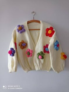 Oversized Knit Cardigan, Floral Cardigan, Wool Cardigan, Aesthetic Sweaters, Cute Sweaters, Chunky Sweaters, Embroidery Designs, Colourful Outfits, Cardigans For Women