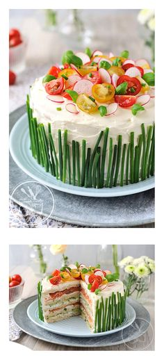 Salmon recipes 488781365799756238 - Sandwich Cake – smoked salmon, cucumber, cream cheese, chives Source by beandade Food Cakes, Sandwich Torte, Sandwich Buffet, Sandwich Cookies, Good Food, Yummy Food, Salty Cake, Tea Sandwiches, Snacks