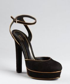 Gucci : black and gold suede 'Huston' strappy platform pumps