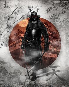 Photomanipulation edit by me Hope you like it! Samurai stock from: Japan Flag from: Thanks a lot Ronin Samurai, Samurai Warrior, Fantasy Kunst, Fantasy Art, Armadura Ninja, Japanese Drawing, Samurai Artwork, Japanese Warrior, Bild Tattoos