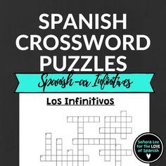 Spanish Infinitives Crossword Puzzle   Acquire new vocabulary, improve spelling and dictionary skills with crossword puzzles! Includes 15 Spanish -ar infinitives with answer key. to singto take/drinkto danceto studyto talkto practiceto desire/wantto buyto payto needto workto look at/watchto search forto wear/carryto visitCompanion products Find an infinitive word search and bingo game here:Verb ResourcesYou may also like:Cognates!