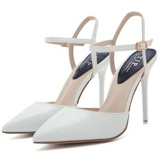 Sexy Stiletto Heel Pointed Toe Solid Buckle Strap Pumps ($1) ❤ liked on Polyvore featuring shoes, pumps, black pumps, white shoes, sexy black pumps, black pointy-toe pumps and black white pumps
