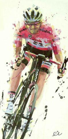Tom Dumoulin, still King of Pink! Giro 2017 painting by @Rob Ijbema