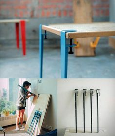 The Floyd Leg gives you the framework to take ownership of your furniture by allowing you to create a table from any flat surface. I love this, truly elegant design. Industrial Furniture, Cool Furniture, Furniture Design, Industrial Pipe, Vintage Industrial, Industrial Style, Floyd Leg, Do It Yourself Furniture, Home And Deco