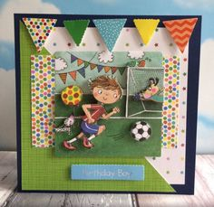 Whiz Kids football card by craft coordinator Maxine Kids Football, Football Cards, Kids Birthday Cards, Boy Birthday, Craftwork Cards, Kids Cards, Card Stock, Decoupage, Card Ideas