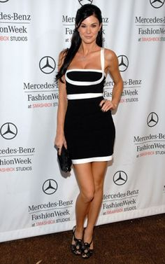 Black White Herve Leger Bandage Dress With Straps