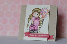 Inspired by Kristina Werner. U're My Everything handmade card using Tilda and distress markers.