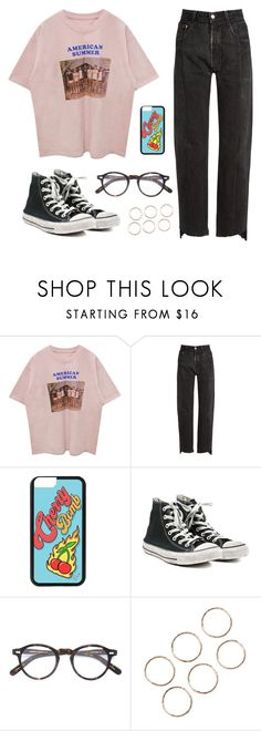 """""""hard times"""" by soym ❤ liked on Polyvore featuring Vetements, Converse and Moscot"""