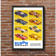 Eldon Slot Cat Collage Poster – Scale Slot Car Racing by MyGenerationShop on Etsy Slot Car Sets, Slot Cars, Slot Car Racing, Vintage Models, Brochures, Scale, Collage, Handmade Gifts, Fun