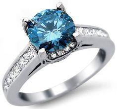 2.0ct Blue Round Princess Cut Diamond Engagement Ring 18k White Gold
