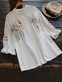 #SheIn - #SheIn Stand Collar Speaker Sleeve Floral Embroidered Blouse - AdoreWe.com Hand Embroidery Videos, Embroidery On Clothes, Shirt Embroidery, Embroidered Clothes, Embroidery Fashion, Embroidered Blouse, Flower Embroidery Designs, Floral Embroidery, Luxury Clothing Brands