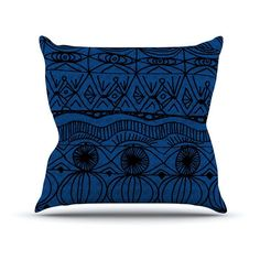 Kess InHouse Catherine Holcombe Beach Blanket Outdoor Throw Pillow Midnight Blue - CH1009DOP03