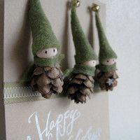 Tiny Pine Cone Elves -- set of 3 ornaments