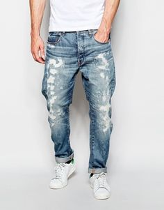 Shop G-Star Jeans Type C Tapered Fit Hydrite Light Aged Restored Wash at ASOS. G Star Jeans, Denim Jeans Men, Denim Skinny Jeans, Rocker Look, Star G, Types Of Jeans, Acid Wash Jeans, Latest Mens Fashion, Models