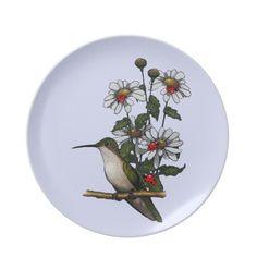 Hummingbird, Daisies, and Ladybugs; Original Art Party Plate