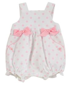Florence Eiseman Baby Girls Sweet White / Pink Dots & Bows Pique Bubble