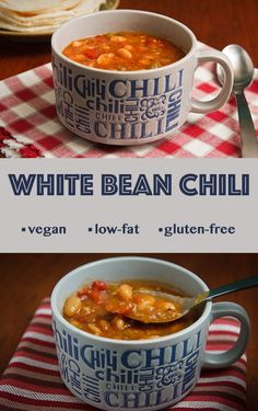 Mild flavored and delicious, this white bean chili is low-fat, vegan, and gluten-free.