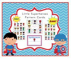 Little Superheroes Pattern Cards ~ Preschool Printables