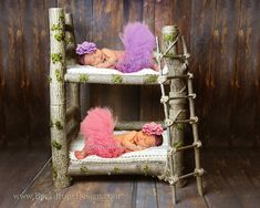 Twins  Photo Prop Bunk Log bed Newborn Twins photography prop hand made wooden bed