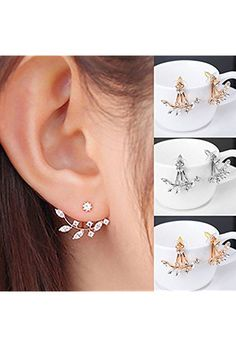 Fashion Gold Plated Leaf Crystal Ear Jacket Double Sided Swing Stud Earrings Gift