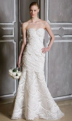 See photos of affordable and designer wedding dresses and browse by silhouette, neckline, fabric, sleeve type and more, all on Brides. Crochet Wedding Dresses, Wedding Dresses Photos, Wedding Dress Styles, Bridal Dresses, Crochet Skirts, Crochet Yarn, Crochet Clothes, Boho Gown, Mode Crochet