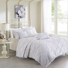 Wendy Cotton 6 Piece Percale Printed Coverlet Set by Madison Park White - MP13-3637