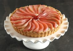 Cranberry Poached Pear Tart with Cinnamon Pastry Cream