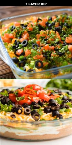 This seven layer dip, sometimes called seven layer taco dip, is one of the best Mexican style appetizers. I am a sucker for any kind of Mexican food. I'm also a sucker for appetizers (especially appet Healthy Dinner Recipes, Mexican Food Recipes, Vegetarian Recipes, Cooking Recipes, Recipe For Mexican Appetizers, Food Recipes Summer, Summer Appetizer Recipes, Mexican Entrees, Mexican Dips