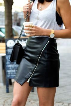 Black leather mini skirt and grey tank top