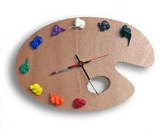 Artist Palette Clock 3D Paint on Wood Left or Right by RipdNTorn