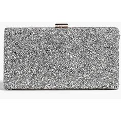 Boohoo Melissa Embellished Box Clutch Bag ($35) ❤ liked on Polyvore featuring bags, handbags, clutches, silver, box clutch, envelope clutch, evening clutches, silver clutches and party clutches