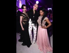 Dita Von Teese, with Miley Cyrus, & Lil Kim, attending the 23rd Annual Elton John AIDS Foundation Academy Awards viewing party in Beverly Hills, California, February 22, 2015.