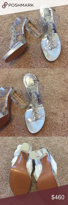 "✨Stuart Weitzman✨Another OMG SHOE✨ Silver & Clear Amazing. Never worn. No box. Just white tissue in the inside. Unbelievable shoes. Show stoppers for sure. Clear heel. Size 7. A little over 4 1/2"" heel. Just beautiful in person. Stuart Weitzman Shoes Heels"