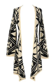 Black and Beige Tribal Pattern Cardigan  www.lilyboutique.com