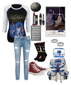 """Everyone is going to see Star Wars and I don't have a ride"" by fallinginfinite ❤ liked on Polyvore featuring Current/Elliott, Max Factor, R2, Forever 21 and Converse"