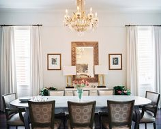 Dining Room Traditional Photo - Upholstered dining chairs surrounding an oval table and a crystal chandelier overhead Room Interior Design, Dining Room Design, Home Interior, Elegant Dining Room, Beautiful Dining Rooms, Upholstered Dining Chairs, Dining Room Chairs, Dining Table, Dining Area