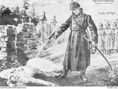 "1916. A propaganda cartoon by T. Carnel depicting the execution of Miss Edith Cavell, lying on the ground, having been shot by a German soldier, as other German soldiers look on in the background. Miss Cavell, a British nurse in Brussels, was accused of being a spy by the Germans and was executed on 12 October 1915. The top right hand corner reads ""Miss Edith Cavell cowardly murdered October 12th 1915""."