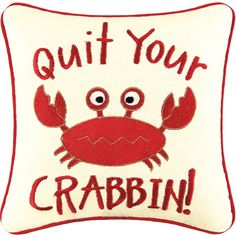 Quit Your Crabbin Accent 10 Inches Fun Coastal Red Crab Square Throw Pillow 8246447702 Linen Pillows, Throw Pillows, Crab Decor, Tiki Decor, Silent Auction Baskets, Pillow Sale, Seasonal Decor, Teacher Gifts, Party Themes