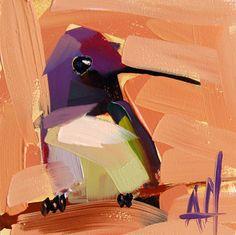 Hummingbird no. 116 original bird oil painting by Angela Moulton 4 x 4 inch on panel pre-order