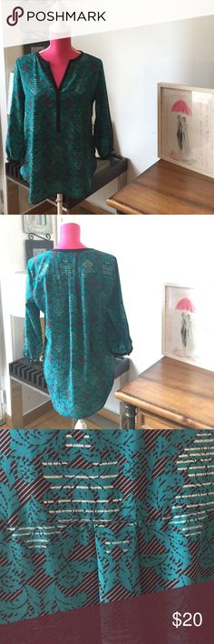 Chic printed blouse Multi-colored(teal, black, silver); printed blouse. New York & Company Tops Blouses