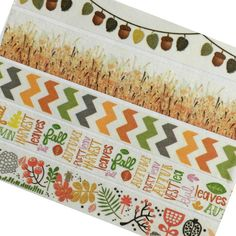 Washi Tape Fall Autumn Leaves Acorn Grass For