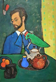 Gabriele Münter (German expressionist painter) Kandinsky with Parrot 1910 Wassily Kandinsky, Franz Marc, Cavalier Bleu, Museum Ludwig, Ludwig Meidner, George Grosz, Tableaux Vivants, August Macke, Blue Rider