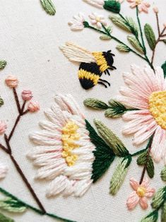 Embroidery Discover Bumble Bee Embroidery Spring Wall Art Bee Embroidery Gift for Mom Gift for Bee Lover Bumble Bee Fiber Art Maggie Jos Studio Halloween Embroidery, Flower Embroidery Designs, Hand Embroidery Patterns, Floral Embroidery, Cross Stitch Embroidery, Types Of Embroidery, Embroidery Techniques, Fiber Art, Etsy