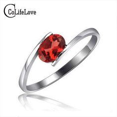 Simple design silver garnet ring 4mm*6mm natural red garnet gemstone ring solid sterling silver fashion gemstone ring for woman