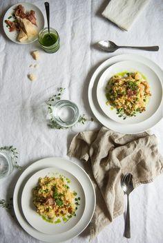 risotto with peas & crispy prosciutto