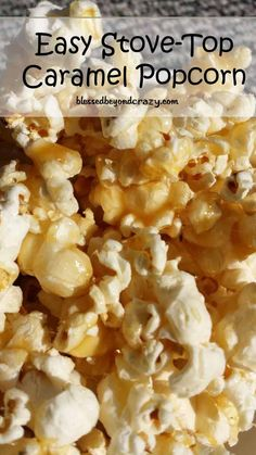 Easy Stove-top Caramel Popcorn (GF) - It's a great recipe and no baking required. It also keeps well in a tightly sealed container for weeks. One of our favorite all-time recipes that we make for family gatherings and parties! Popcorn Recipes, Snack Recipes, Cooking Recipes, Popcorn Toppings, Popcorn Snacks, Batch Cooking, Yummy Snacks, Delicious Desserts, Yummy Food
