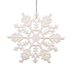 "Club Pack of 24 Winter White Glitter Snowflake Christmas Ornaments 4"" - Walmart.com"