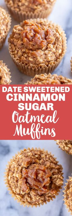 These Cinnamon Sugar Baked Oatmeal Cups are sweetened with ONLY dates! That makes them a super healthy breakfast recipe! They're easy to make and you can prep them ahead of time and have a healthy breakfast ready to go every morning. They're also great for snacks and dessert! Vegan and gluten free! #oatmealcup #oatmealmuffin #naturallysweetened #breakfast #mealprep #easybreakfast #kidfriendly Egg Free Recipes, Quick Bread Recipes, Banana Bread Recipes, Sweets Recipes, Keto Recipes, Vegetarian Recipes, Healthy Recipes, Oatmeal Recipes, Healthy Breakfast Recipes