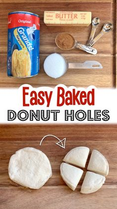 Cake Mix Recipes, Donut Recipes, Dessert Recipes, Cooking Recipes, Baked Donut Holes, Baked Donuts, Doughnuts, Pillsbury Biscuit Recipes, Bisquick Recipes