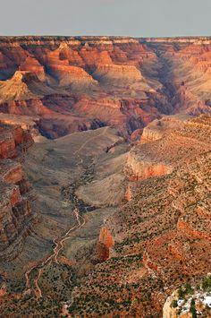 Bright Angel Trail, Grand Canyon National Park, Arizona. The Bright Angel Trail is considered the park's premier hiking trail. (V)